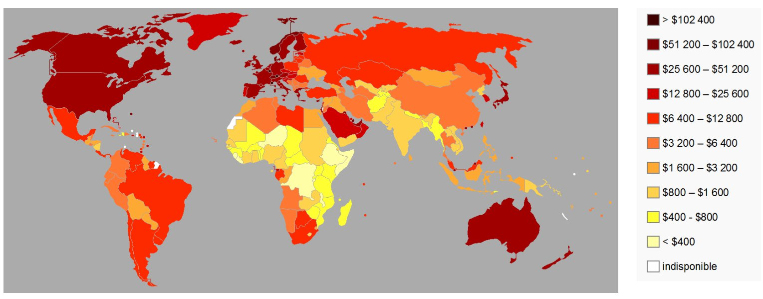 PIB par habitant en en 2010