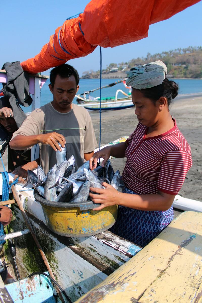 Lombok plage pêcheurs