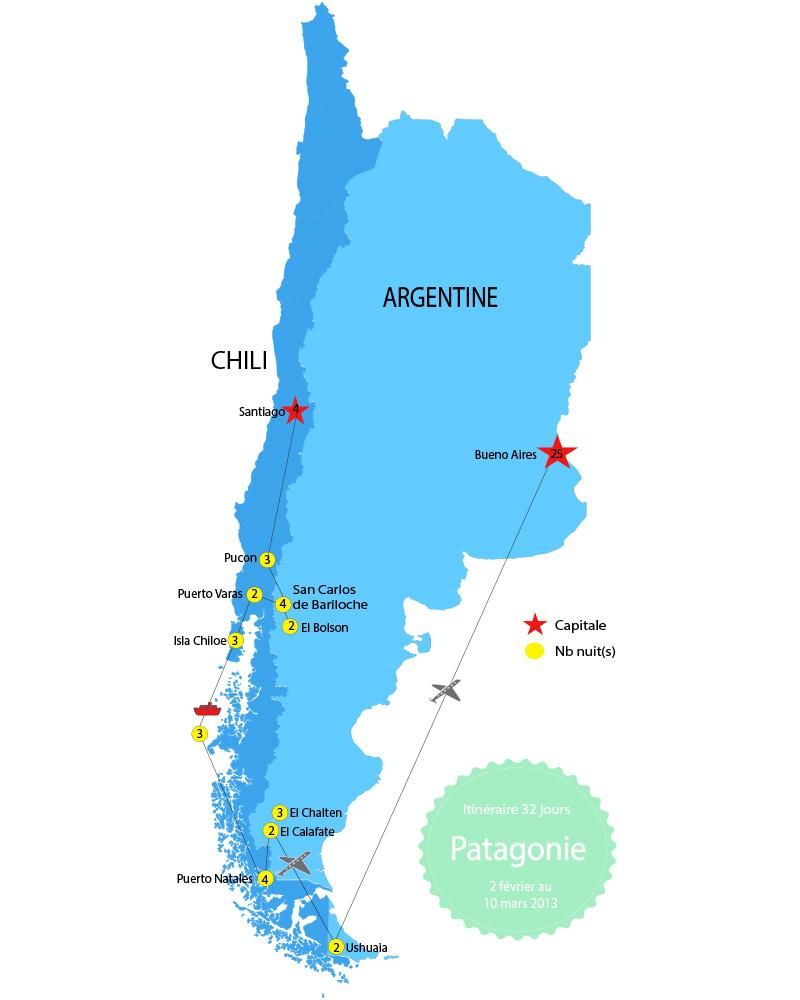 Itinériare Patagonie Argentine Chili