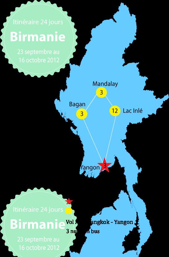 Itinéraire en Birmanie
