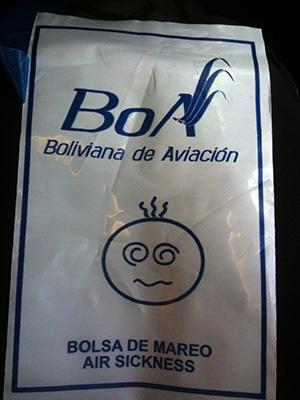 Bolivia airlines sachet